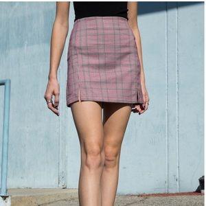 Brandy Melville Pink Plaid Skirt